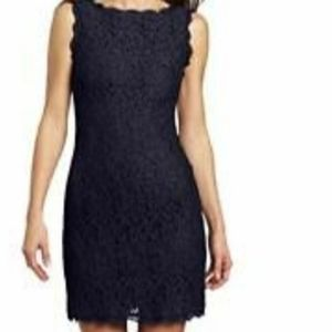NWT Adrianna Papell Black/Blue Lace Dress Size 8